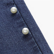 Skinny Denim Jeans With Decorative Beads