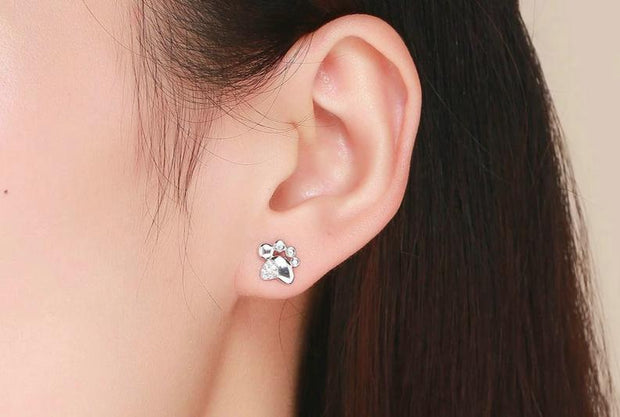 Fashion Sterling Silver Animal Footprint Stud Earrings