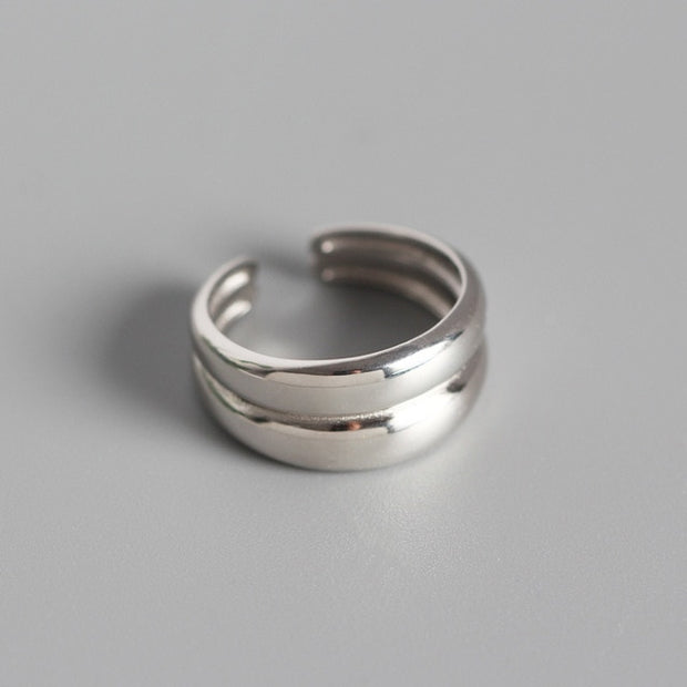 Sterling Silver Double Layer Glossy Ring