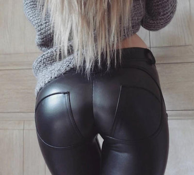 High Waist Faux Leather Fashion Leggings