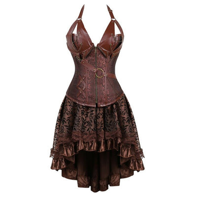 Steampunk Zippered Faux Leather Corset with Skirt