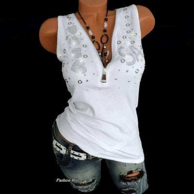 Stretch Sequin Cotton Top