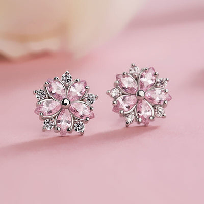 Snowflake Pink Quartz Stud Earrings