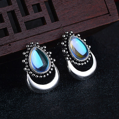 Water Drop Moonstone Stud Earrings