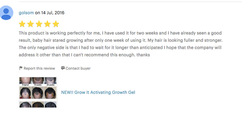 Feedback and Review on TLC Naturals Grow It Hair Growth Activating Gel