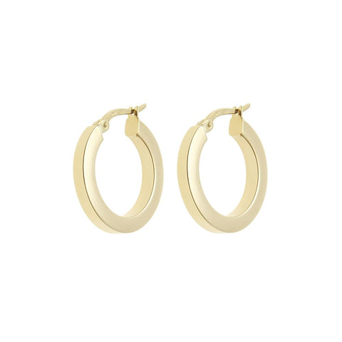 Lightweight Gold Square Hoop Earrings 14ct gold - 21mm