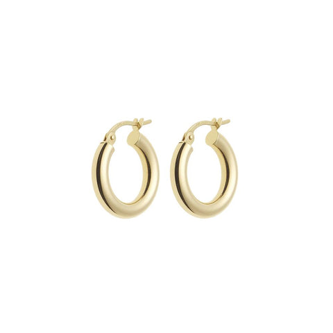 Lightweight Gold Round Hoop Earrings 14ct gold - 16mm