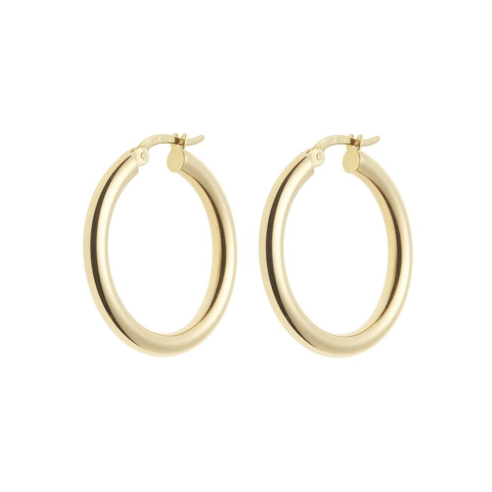 Lightweight Gold Round Hoop Earrings 14ct gold - 25mm