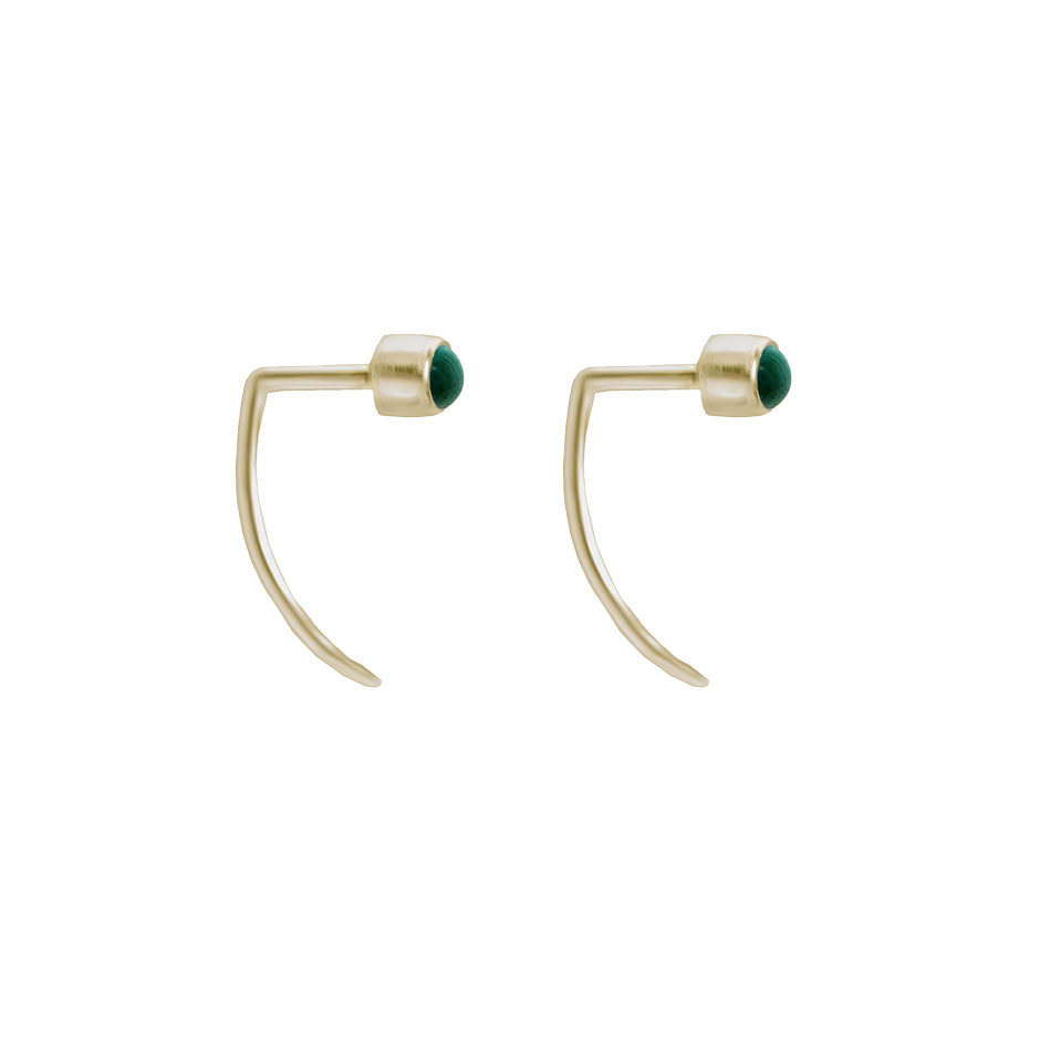 Fireflies Earrings: Malachite 14ct gold