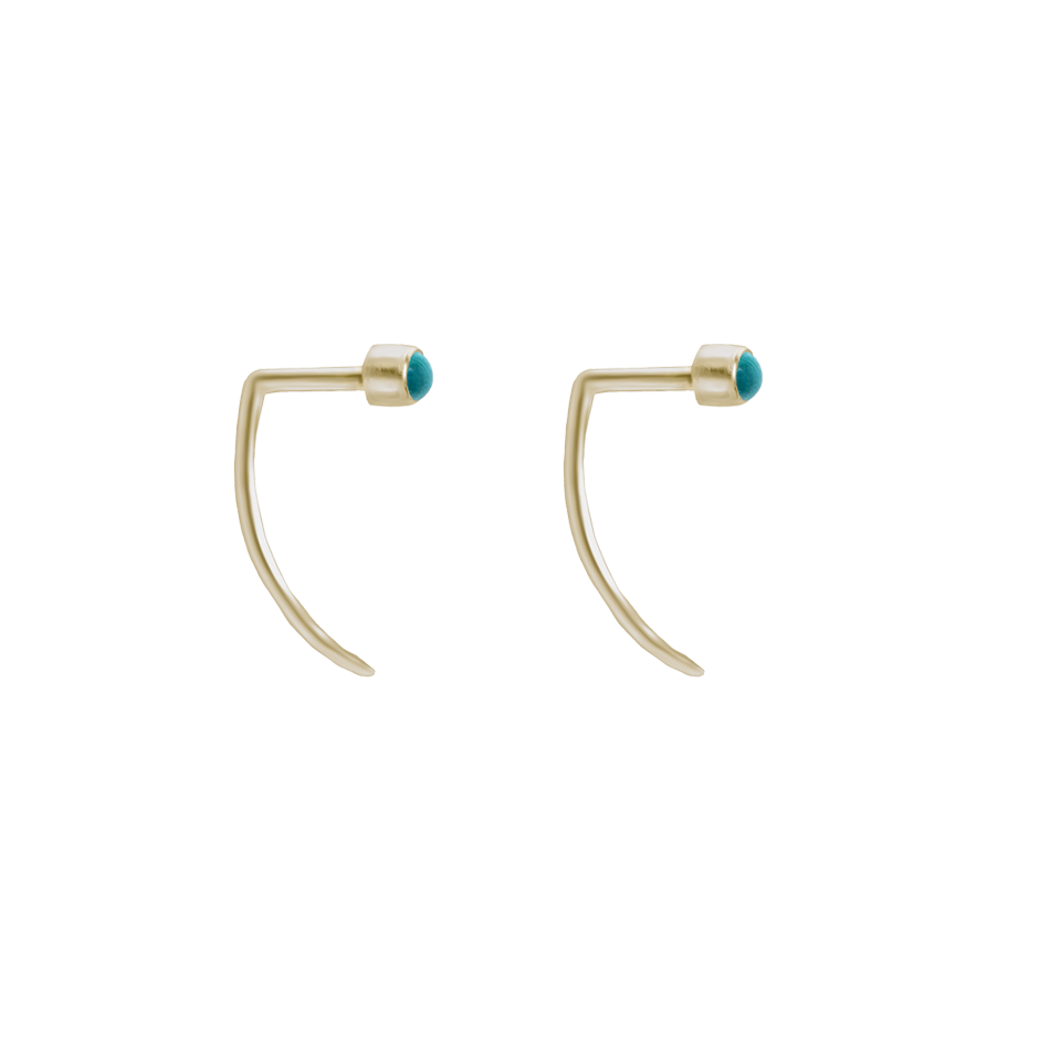 Fireflies Earrings: Turquoise 14ct gold