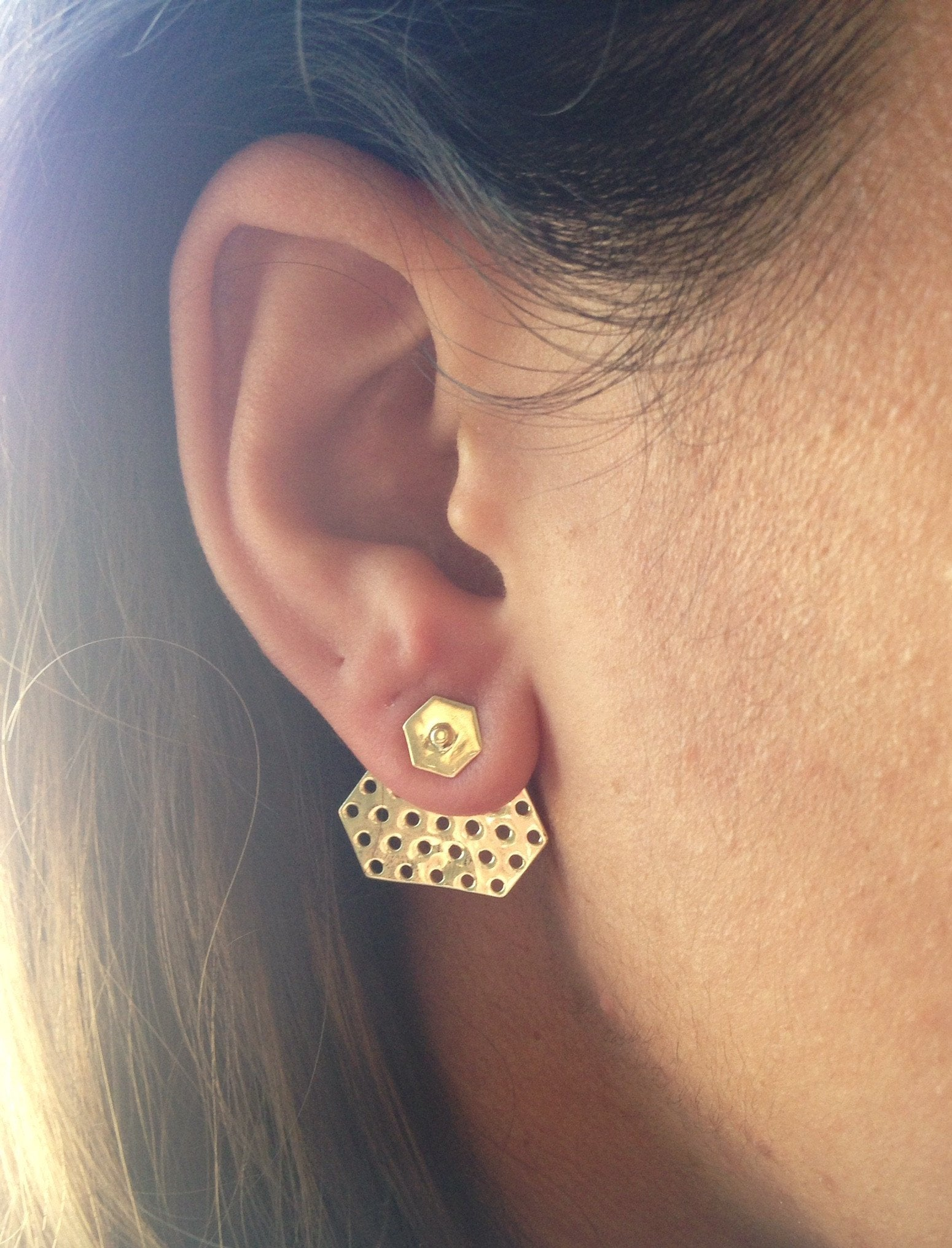 Hexagon Earring gold