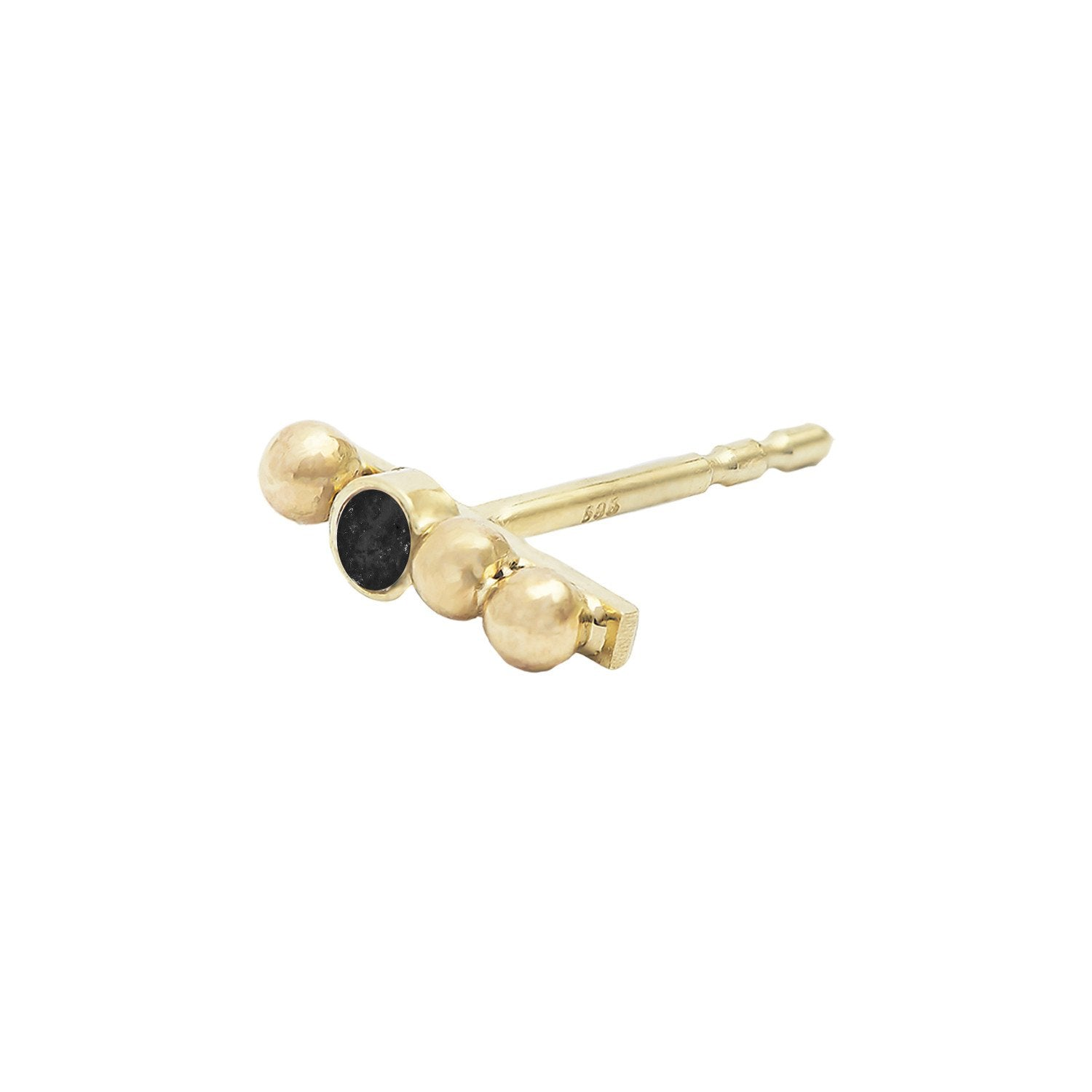 Maysie Black Diamond Stud 14ct gold