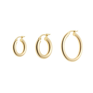 Lightweight Gold Round Hoop Earrings 14ct gold - 20mm