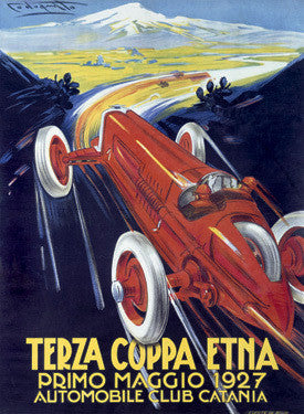 1927 Terza Coppa Etna Auto Road Rally Ad Fine Art Print