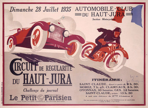 1935 Circuit du Haut-Jura Ad by Joe Bridge Fine Art Print