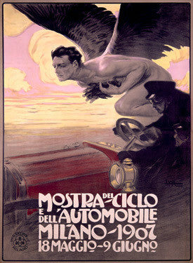 1907 Mostra del Ciclio e dell'Automobile Advertisement by Metlicovitz Fine Art Print