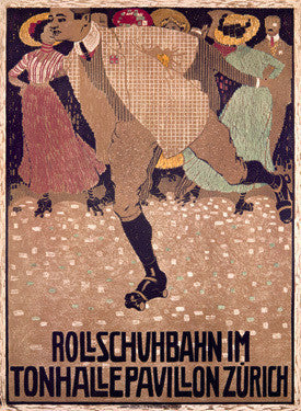 Rullschuhbahn Roller Rink Zurich Advertisement by Burkhard Mangold Fine Art Print