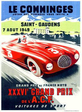 1949 Le Comminges Reims Grand Prix Ad by Andre Bermond Fine Art Print