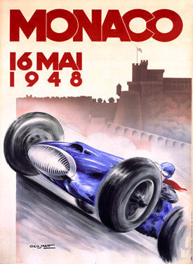 1948 Monaco Grand Prix Ad by Geo Ham Fine Art Print