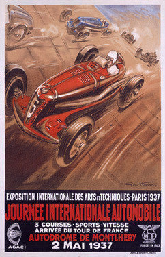 1937 Journee Internationale Automobile Ad by Geo Ham Fine Art Print