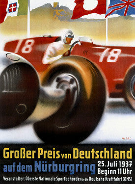 1937 Nurburgring Grand Prix Ad by Alfred Hierl Fine Art Print