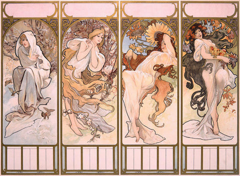 Four Seasons by Alphonse Mucha Fine Art Print