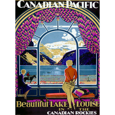 Canadian Pacific Lake Louise by Artist Kenneth D. Shoesmith Wood Sign