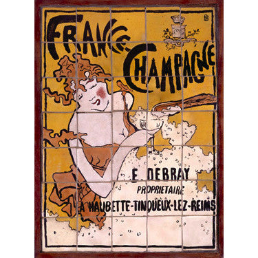 French Bonnard Champagne Tile Wood Sign