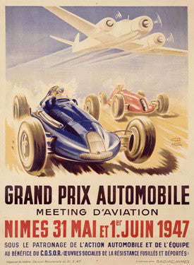 1947 Grand Prix Auto and Aviation Ad by Geo Ham Fine Art Print