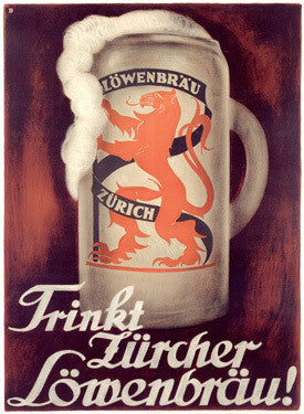 1927 Swiss Lowenbrau Beer Ad by Otto Baumberger Fine Art Print