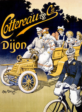 Cottereau Dijon Automobile Bicycle Ad by Jack Abeille Fine Art Print