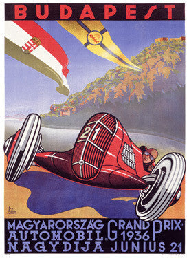 1936 Hungarian Grand Prix Ad by O.K. Gerard Fine Art Print