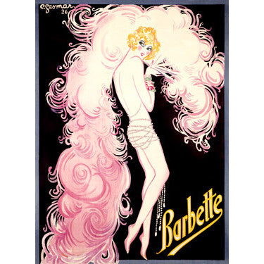 1926 French Barbette Cabaret by Artist Charles Gesmar Wood Sign