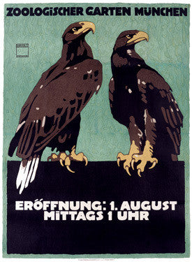 Eagles at the Munich Zoo by Ludwig Hohlwein Fine Art Print