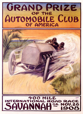 1908 Auto Club Savannah Race Ad by Malcolm A. Strauss Fine Art Print