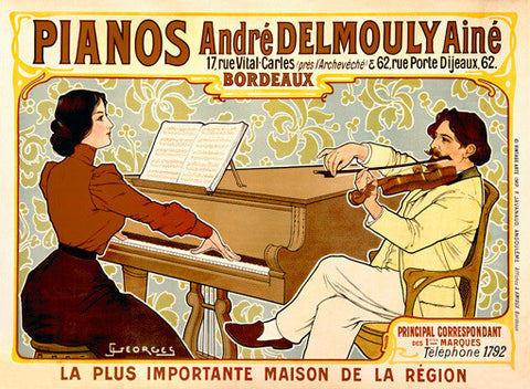 French Delmouly Piano by J. Georges Fine Art Print