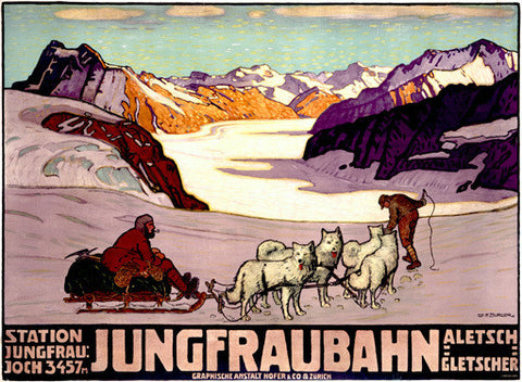 Jungfraubahn Dog Sled Travel Ad by Wilhelm Burger Fine Art Print