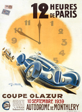 1939 Coupe Olazur Paris Auto Race Ad by Geo Ham Fine Art Print