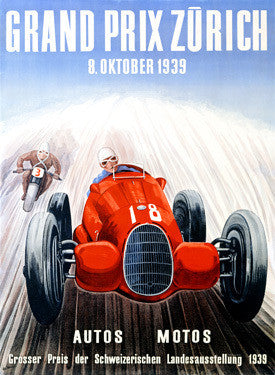 1939 Zurich Grand Prix Ad by Adolf Schnider Fine Art Print