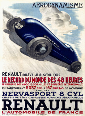 1934 Renault Car Racing Ad Fine Art Print
