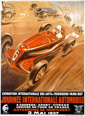 1938 Monthlhery Auto Grand Prix Ad by Geo Ham Fine Art Print