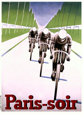 Paris soir Bicycle Race Ad by Abel Brunyer Fine Art Print