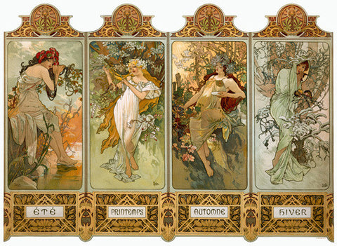 Four Panel Seasons by Alphonse Mucha Fine Art Print