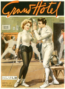 Grand Hotel Fencing Pin Up Girl Ad Fine Art Print