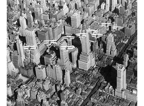 New York City Aerial Skyline and Biplanes Fine Art Print