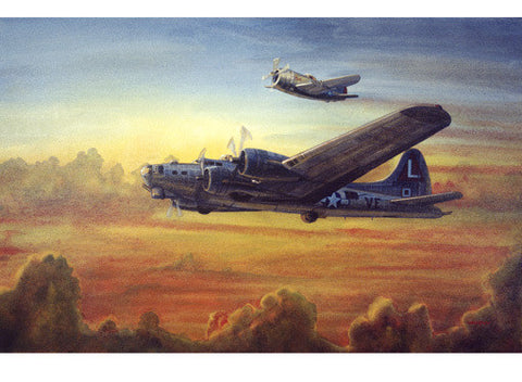 WWII B-17 Bomber With P-47 Escort by Jim Horan Fine Art Print