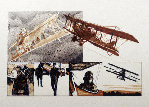 WWI Biplane - Magnificent Men by Jim Horan Fine Art Print
