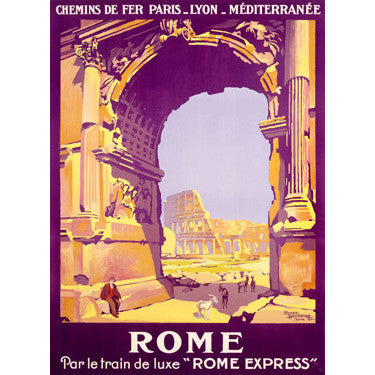 Rome Express Poster by Artist Roger Broders Wood Sign
