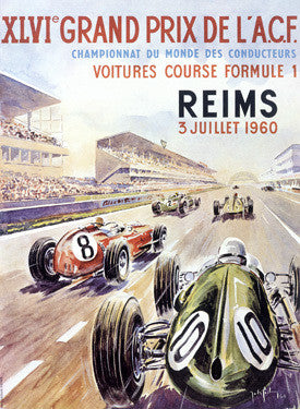 1960 Reims F1 French Grand Prix Ad Fine Art Print