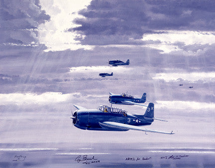 WWII USN GW Bush VT51 Avenger by Bill Northup Fine Art Print